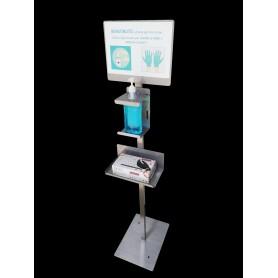 Columna de gel desinfectante - superior - de acero inoxidable - c/cartel de información y supp.guantes